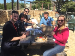The bacterial fungal interaction team brainstorms over lunch during the Asilomar fungal genetics 2017 conference