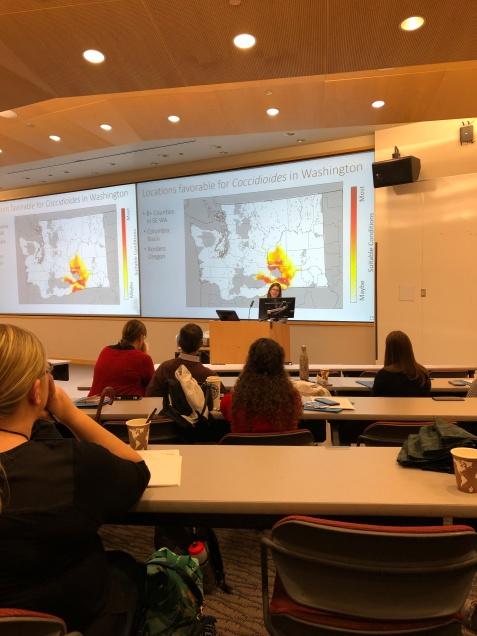 Dr. Morgan Gorris describes niche modeling to predict future Coccidioides distributions given global warming trends, CSG63, Davis CA